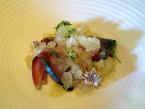 Manresa - Yuzu and sea salt snow with buckwheat honey, toasted seaweed with mackerel