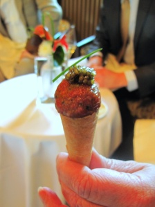 Schloss Berg - Amuse Bouche - Homemade cornet of smoked eel cream, beef tartare and Imperial Oscietra caviar from Iran