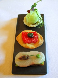 Schloss Berg - Amuse Bouche - Krepe, oyster & swordfish, green apple; tomato tortellini, pesto & olive; yellowfin tuna, avocado & tapenade