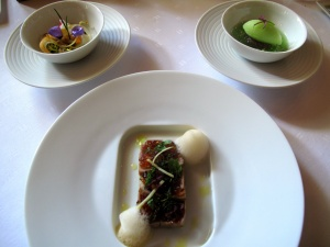 Schloss Berg - Blue Fin Tuna Tataki - Gartengurke - japanisches Gemüse - Ponzu