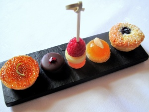 Schloss Berg - Petit Fours - Lemon tartlet; cherry marzipan; peach melba; almond and apricot jelly; blueberry cake