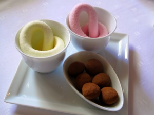 Schloss Berg - Petit Fours - Rose and orange marshmallow; milk chocolate almonds