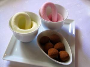 Schloss Berg - Petit Fours - Rose and orange marshmallow; milk chocolate almonds
