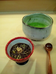 Urasawa - Goma pudding; organic matcha tea