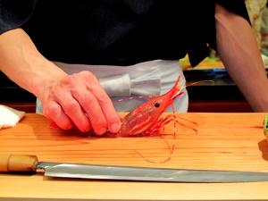 Urasawa - Hiro playing with Santa Barbara spot prawn