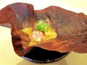 Urasawa - Hoba Yaki; Japanese beef, bamboo shoot top; Santa Barbara spot prawn 2