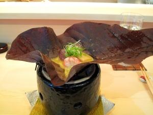 Urasawa - Hoba Yaki; Japanese beef, bamboo shoot top; Santa Barbara spot prawn