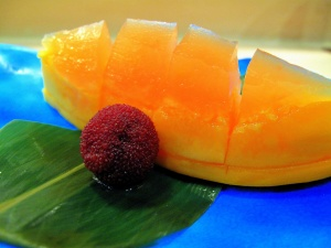 Urasawa - Papaya with grapefruit jelly; yamamomo
