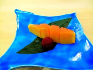 Urasawa - Papaya with grapefruit jelly; yamamomo - refused