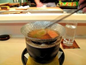 Urasawa - Shabu shabu; scallop, goose foie gras - cooking