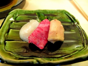 Urasawa - Shabu shabu; scallop, Wagyu beef, goose foie gras 2