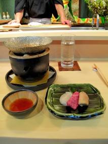 Urasawa - Shabu shabu; scallop, Wagyu beef, goose foie gras