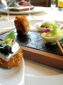 Vendôme - Amuse Bouche - Smoked eel, cumin, cabbage, fig; praline of goat's cheese, watercress; braised poularde, papaya; polenta, mackerel, seaweed, curry mayo 2