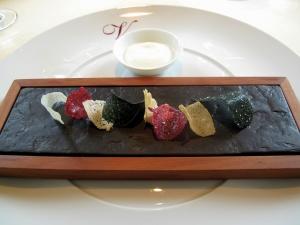 Vendôme - Blätterwald; Gemüsekrokant - Ziegenjoghurt; Dip