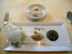 Vendôme - Coralle; Parmesan - Foie Gras - Basilikum; Pistou