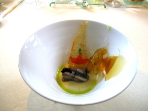 Vendôme - Fontina; Auberginentatar - eingelegte makrele