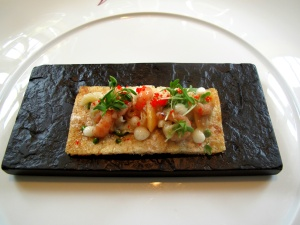 Vendôme - Knäckebrot; Krabben - Muscheln - Frankfurter grüne Sauce