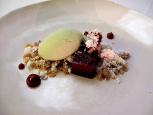 Coi - Blood Orange Curd; douglas fir ice cream, black walnut crumble