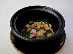 Coi - Earth and Sea; steamed tofu mousseline, yuba, fresh seaweeds, mushroom dashi