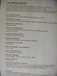 Coi - Menu - Ingredients List