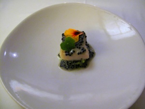 Coi - Sturgeon Poached in Smoked Oil; caviar vinaigrette, nasturtium scented potatoes