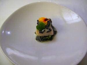 Coi - Sturgeon Poached in Smoked Oil; caviar vinaigrette, nasturtium scented potatoes