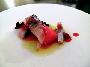 le Chateaubriand - Amuse - macquereau, shiso, pastèque
