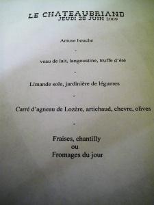le Chateaubriand - la Carte
