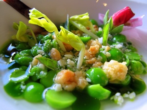 Ubuntu - 2X-shucked peas and GOLD SHOOTS in a consommé of the shells