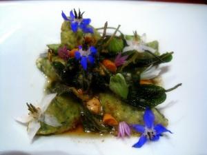 Ubuntu - BORAGE gnudi with brown butter and flowering SAGE