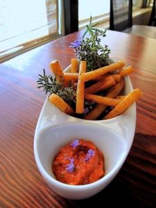 Ubuntu - chickpea fries with romesco sauce, flowering ROSEMARY