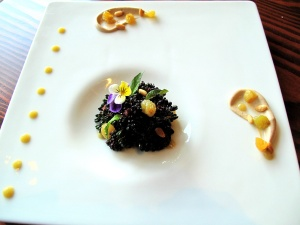 "Ubuntu - ""purple"" tapas - 'VIOLET QUEEN' BROCCOLI a la catalan 2009 pine nut, soy milk, golden raisin"