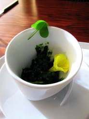 Ubuntu - NETTLE and LEMON BALM ice vegan ESCAROLE veloute, WILD SORREL