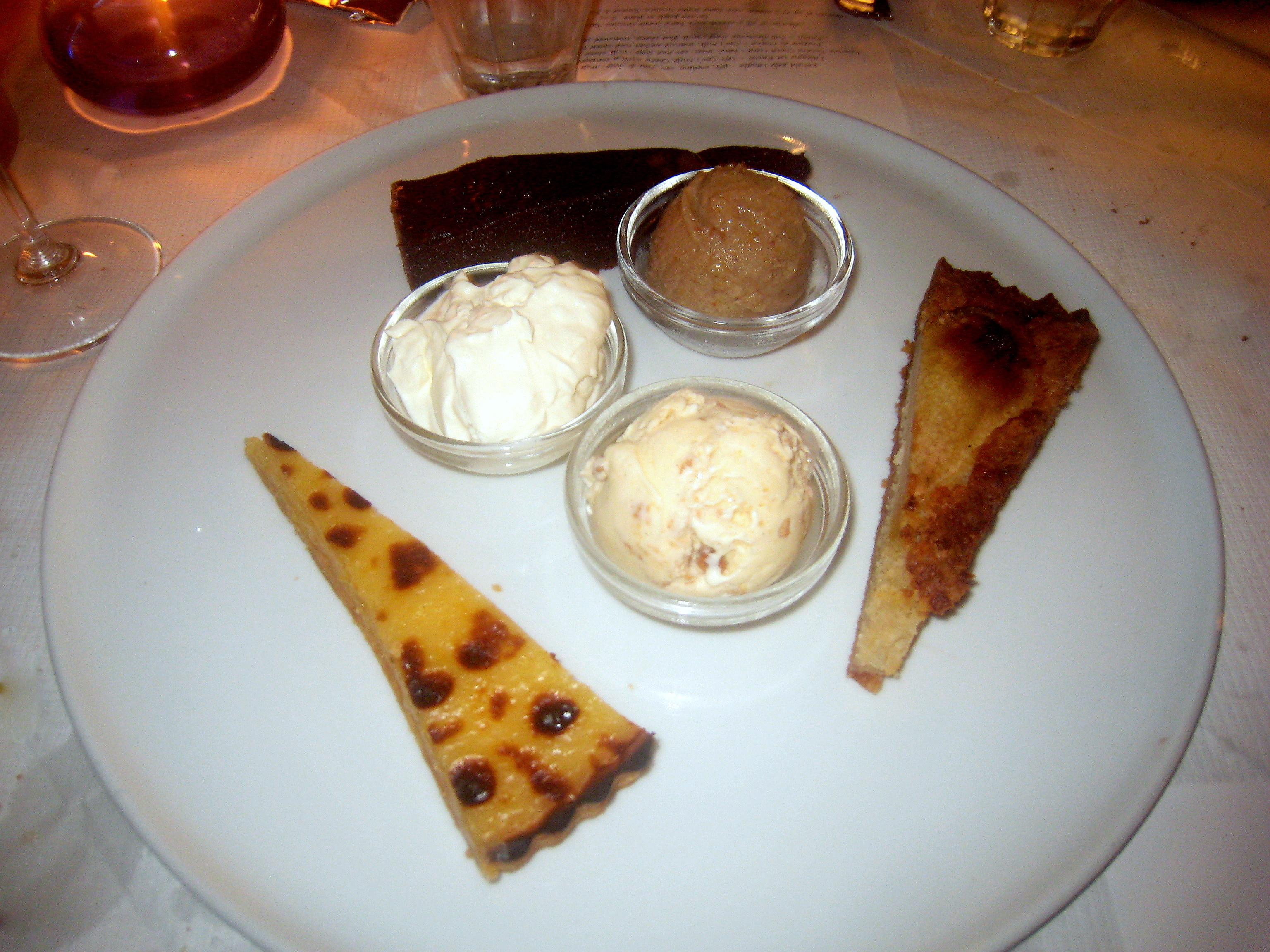 Tart; Pear & Almond Tart; Chocolate Nemesis; Chestnut Sorbet; Toasted ...
