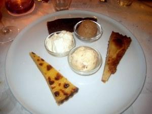 Lemon Tart; Pear & Almond Tart; Chocolate Nemesis; Chestnut Sorbet; Toasted Almond Ice Cream; and Crème Fraîche