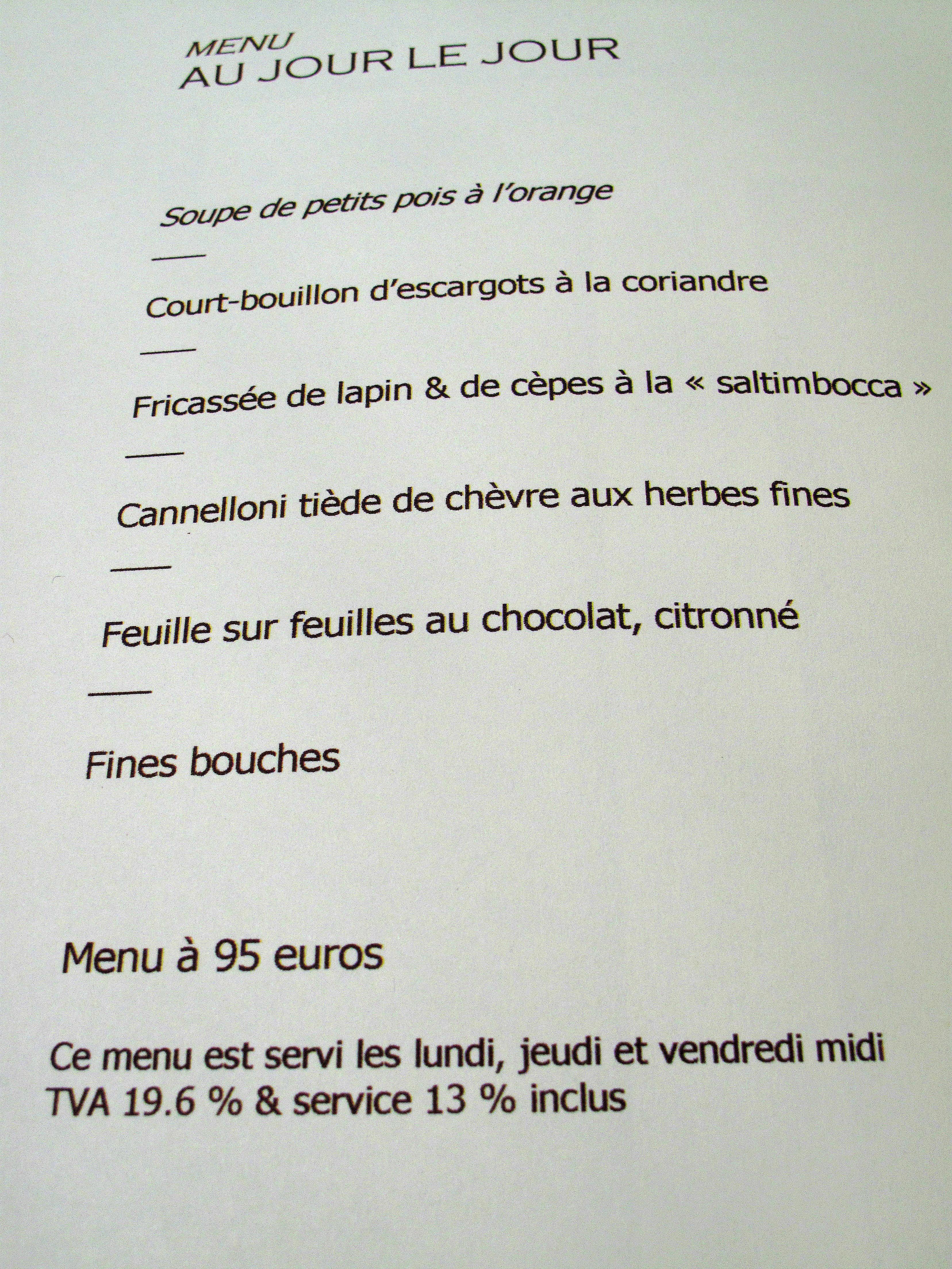 Menus Au Restaurant L Eden A St Valery En Caux